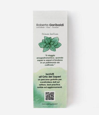 Fronte Segnalibro Eko Bookmark in Carta Riciclata Con Semi di Basilico per progetto Roberta Garibaldi