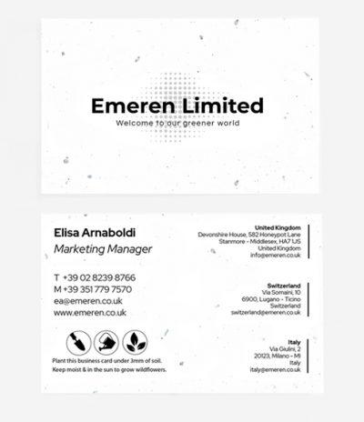 Biglietto da Visita in Carta Piantabile per Progetto Emeren Limited Fronte & Retro