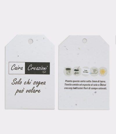 Etichetta in Carta Piantabile per Caira Creazioni Fronte & Retro