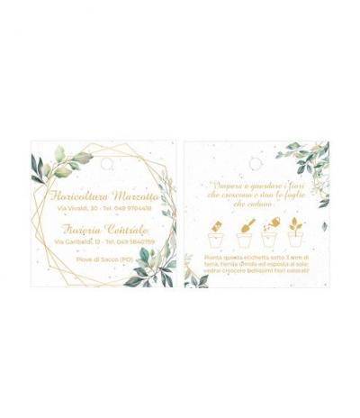 Etichetta in Carta Piantabile Quadrata per Floricoltura Marzotto Fronte