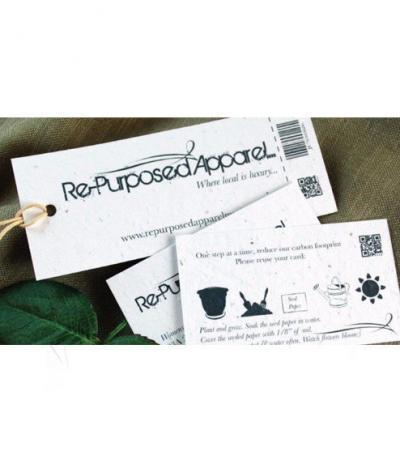 Etichetta in Carta Piantabile Rettangolare per Re-Purposed Apparel Fronte & Retro