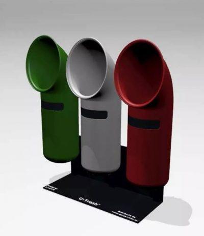 Contenitore U-Trash 3 colori per Raccolta Differenziata con Composizione a batteria