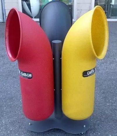 Contenitore U-Trash 3 colori per Raccolta Differenziata con Composizione a fiore
