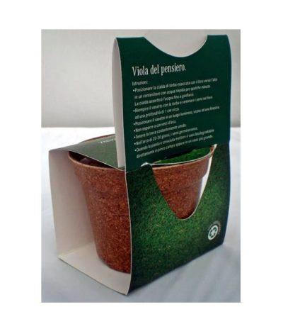 Green Espresso Vasetto Compostabile in Lolla di riso Retro Confezione con Istruzioni Seme Viola del Pensiero