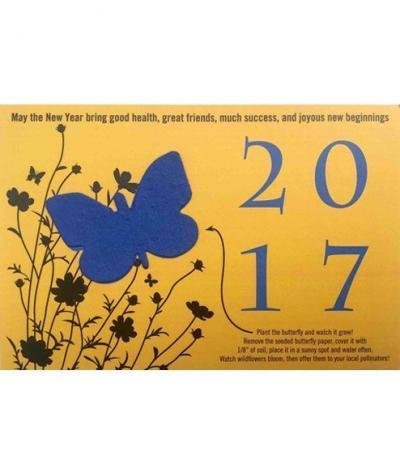 Inviti & Volantini in Carta Piantabili con Esempio di Personalizzazione con Farfalla su Carta Gialla