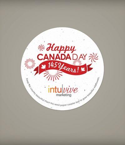Sottobicchiere in Carta Piantabile per Canada Day a Forma Rotonda