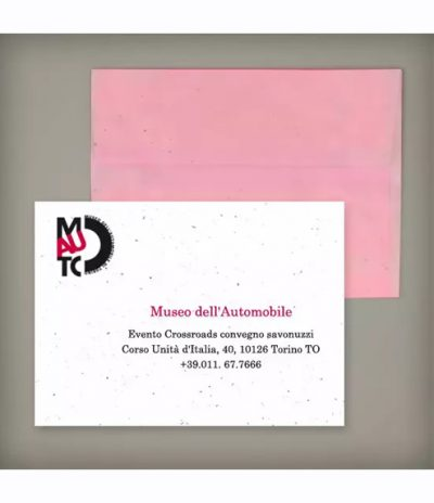 Busta in Carta Piantabile per Progetto Politecnico di Torino Mauto Museo dell'Automobile