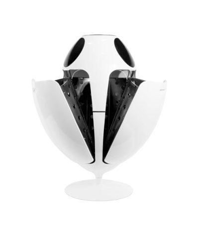 Cestino a Forma di Ovetto di Colore Bianco/Nero Aperto con 3 ante aperto vista laterale