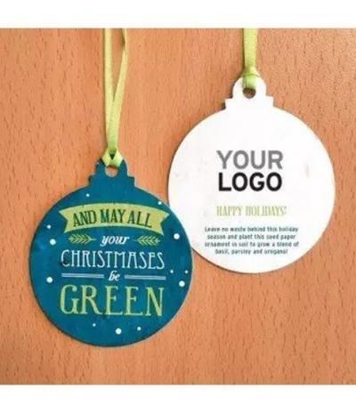 Palline Natalizie in Carta Piantabile con personalizzazione Christmas be Green