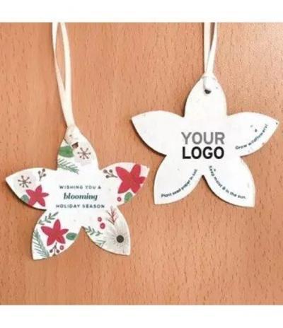Fiore di Natale con ornamenti Natalizi in Carta Piantabile