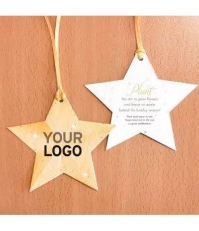 Stella di Natale d'oro Natalizia in Carta Piantabile con esempio di personalizzazione