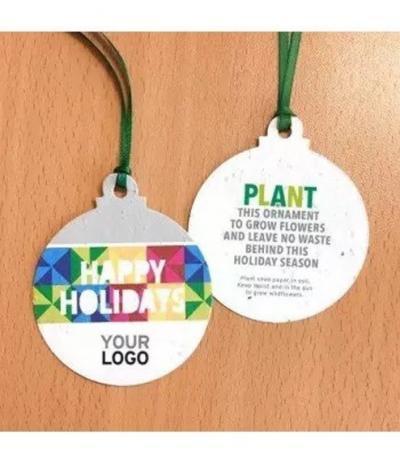 Palline Natalizie in Carta Piantabile con personalizzazione Happy Holidays