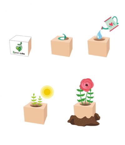 Infografica Cubo in legno iGreen Cube 7.5x7.5 cm per far crescere un fiore o pianta