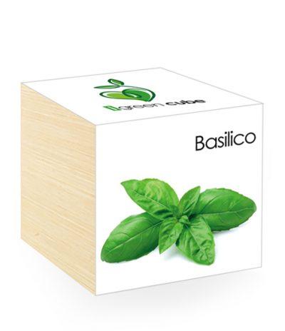 Cubo in legno iGreen Cube 7.5x7.5 cm Basilico con Confezione avvolgente Standard