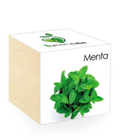Cubo in legno iGreen Cube 7.5x7.5 cm Menta con Confezione avvolgente Standard