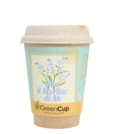 Fronte iGreen Cup Tazza da Caffè Bio con Fiori & Piante Seme Non Ti Scordar di Me