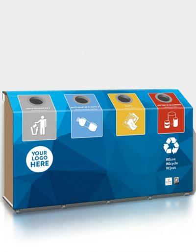 Differenziatore Orizzontale in Cartone Riciclato a 4 vani con personalizzazione azzurro