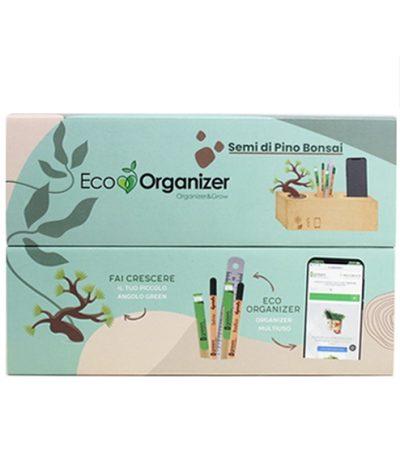 Eco Organizer Porta Penne/Matite & Appoggia Telefono con Pino Bonsai