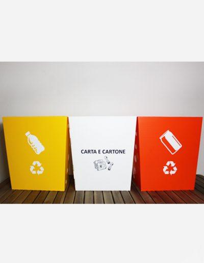 Eco Light Contenitori Raccolta Differenziata per Uffici & Scuole con 3 colori diversi da 40 Lt